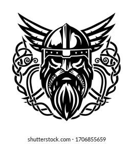 The vector illustration of viking in a helmet