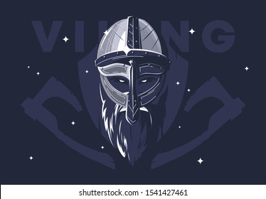 Vector illustration of Viking helmet with beard and Viking face, medieval warrior, silhouette of wooden battle shield and axes