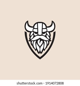 Vector illustration of Viking with Helmet,  for mascot sport logo badge label sign poster  emblem patch t-shirt printing. Vector Logo