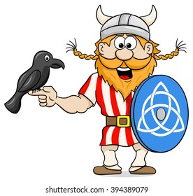 vector illustration of a viking with a raven