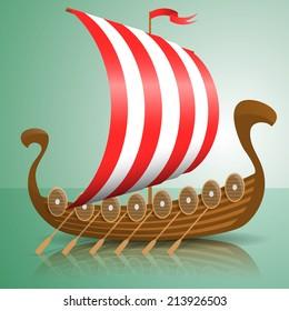 Vector illustration of a Viking ship.