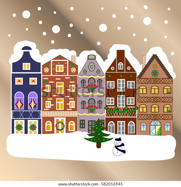 Vector illustration. Village in Christmas, banner on background with snow and snowflakes. Greeting card.