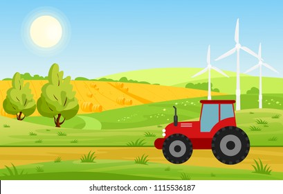 Vector illustration of village with fields and tractor working on farmed land, bright colors landscape, farm concept in cartoon flat style.