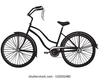 Vector illustration of a vintage bicycle in black and white