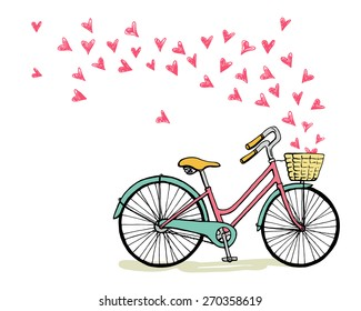 Vector illustration of a vintage bicycle with flying out of its basket hearts.