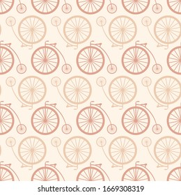 Vector illustration of vintage bicycle seamless pattern