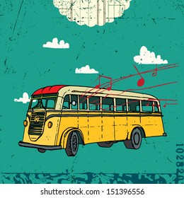 Vector illustration with vintage bus on the background clouds and texture.
