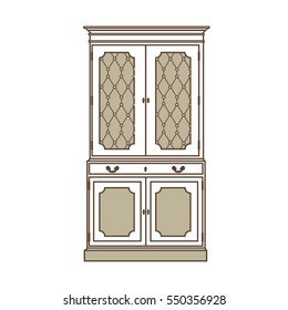 Vector illustration  vintage cabinet icon. Retro interior furniture. Antique, retro furniture. 18th century style interior.