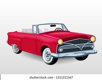 Vector illustration of vintage car.  Retro car on white background