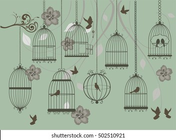 vector illustration of vintage card with birds, cages, floral swirls