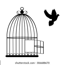 vector illustration of a vintage card with cage open and dove flying