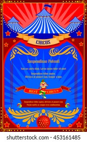 vector illustration of Vintage Circus Cartoon Poster Invitation for Party, Carnival and Advertisement