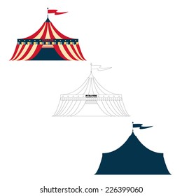 Vector illustration of a vintage circus tent in color outline and silhouette