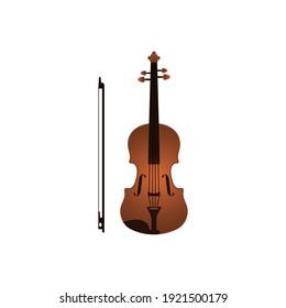 Vector illustration of a vintage classical violin. Flat design.