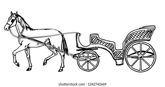 Horse Carriage Sketch Images Stock Photos Vectors