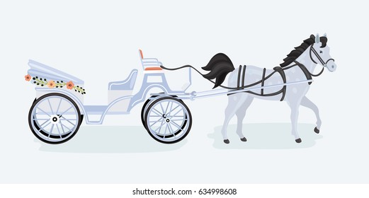 Vector illustration of vintage coach on white background. Horse carriage isolated on white background