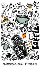 Vector illustration of vintage coffee doodles
