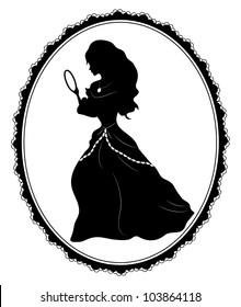 Vector illustration of vintage  female   silhouette on white background