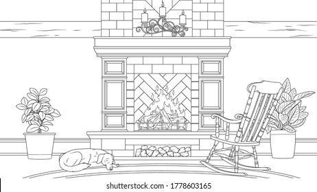 Vector illustration, vintage fireplace with rocking chair and sleeping dog, coloring book.