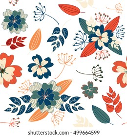 Vector illustration of vintage flowers seamless pattern