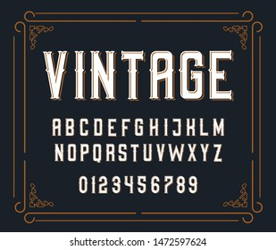 Vector illustration of vintage font.