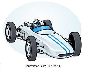 vector illustration of a vintage formula 1 race car