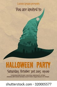 Vector illustration of vintage Halloween party invitation or flyer design template