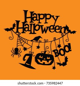 A vector illustration of vintage happy halloween hanging decorations paper cut.