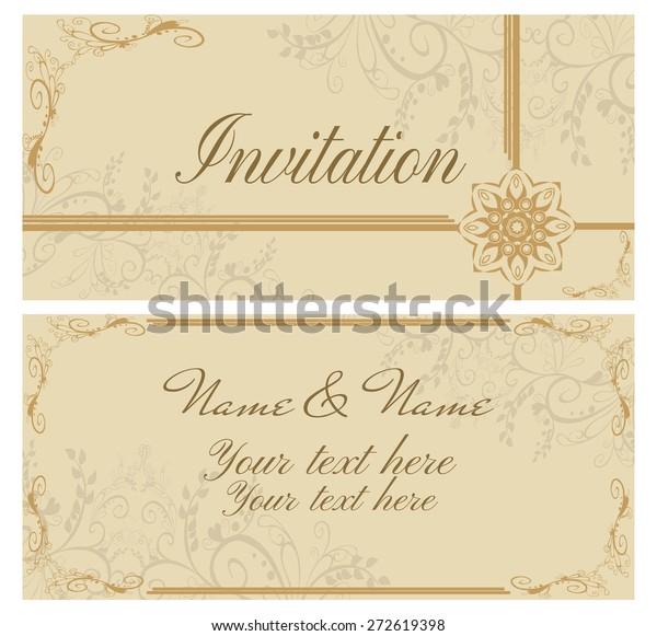 vector illustration vintage invitation card wedding stock vector royalty free 272619398 shutterstock
