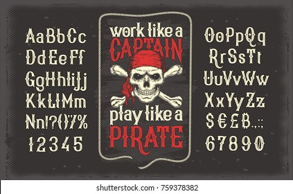 Vector illustration of a vintage Latin alphabet alphabet of letters and numbers with a frame and a pirate skull in a red bandana. Template, design element.