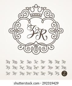 Vector illustration of vintage monogram, emblem or label. Design template with ornamental frame. Calligraphic set with letter Z