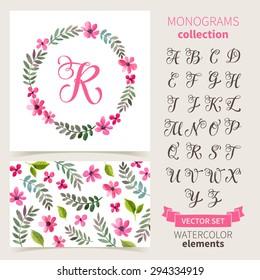 Vector illustration of vintage monogram set. Design template with floral frame, leaves and elements, calligraphic letters, emblem and label. Design element for invitation, wedding or greeting cards