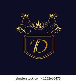 Vector illustration of vintage monograph, coat of arms, labels, office, bank, restaurant. Elegant decorative golden design on a dark background. Calligraphic font D.