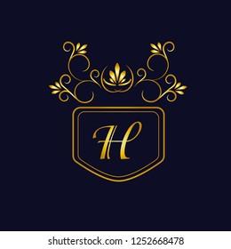 Vector illustration of vintage monograph, coat of arms, labels, office, bank, restaurant. Elegant decorative golden design on a dark background. Calligraphic font H.