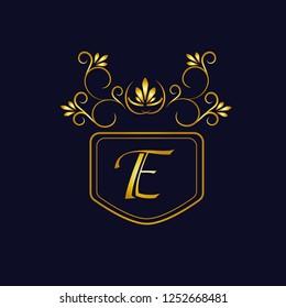 Vector illustration of vintage monograph, coat of arms, labels, office, bank, restaurant. Elegant decorative golden design on a dark background. Calligraphic font E.