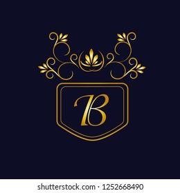 Vector illustration of vintage monograph, coat of arms, labels, office, bank, restaurant. Elegant decorative golden design on a dark background. Calligraphic font B.