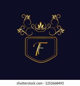 Vector illustration of vintage monograph, coat of arms, labels, office, bank, restaurant. Elegant decorative golden design on a dark background. Calligraphic font F.