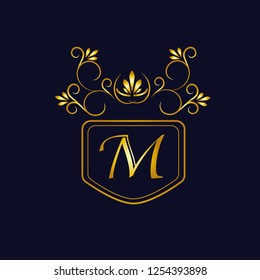 Vector illustration of vintage monograph, coat of arms, labels, office, bank, restaurant. Elegant decorative golden design on a dark background. Calligraphic font M.