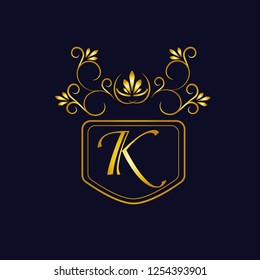 Vector illustration of vintage monograph, coat of arms, labels, office, bank, restaurant. Elegant decorative golden design on a dark background. Calligraphic font K.