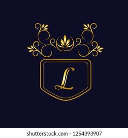 Vector illustration of vintage monograph, coat of arms, labels, office, bank, restaurant. Elegant decorative golden design on a dark background. Calligraphic font L.