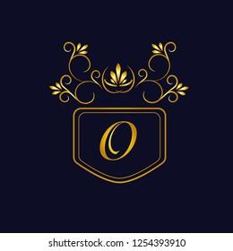 Vector illustration of vintage monograph, coat of arms, labels, office, bank, restaurant. Elegant decorative golden design on a dark background. Calligraphic font O.
