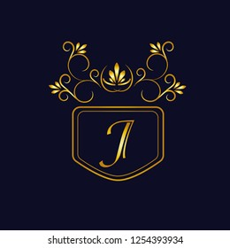 Vector illustration of vintage monograph, coat of arms, labels, office, bank, restaurant. Elegant decorative golden design on a dark background. Calligraphic font J.