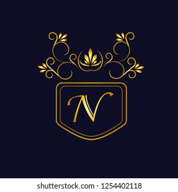 Vector illustration of vintage monograph, coat of arms, labels, office, bank, restaurant. Elegant decorative golden design on a dark background. Calligraphic font N.