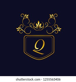 Vector illustration of vintage monograph, coat of arms, labels, office, bank, restaurant. Elegant decorative golden design on a dark background. Calligraphic font Q.