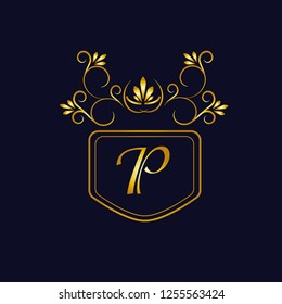 Vector illustration of vintage monograph, coat of arms, labels, office, bank, restaurant. Elegant decorative golden design on a dark background. Calligraphic font P.