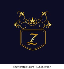 Vector illustration of vintage monograph, coat of arms, labels, office, bank, restaurant. Elegant decorative golden design on a dark background. Calligraphic font Z.