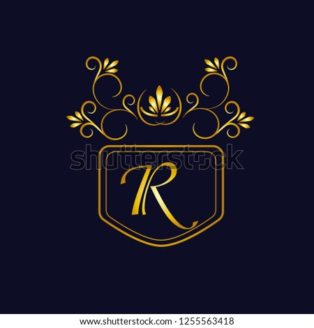 Vector illustration of vintage monograph, coat of arms, labels, office, bank, restaurant. Elegant decorative golden design on a dark background. Calligraphic font R.