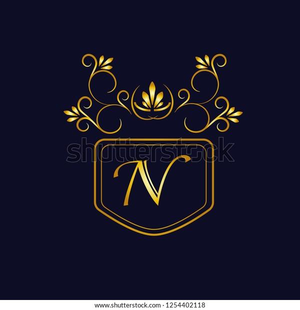 Vector illustration of vintage monograph, coat of arms, labels, office, bank, restaurant. Elegant decorative golden design on a dark background. Calligraphic font N.