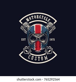 Vector illustration Vintage motorcycle Monochrome skull in helmet . t-shirt graphics. Biker t-shirt. Motorcycle emblem.