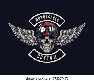 Vector illustration Vintage motorcycle Monochrome skull and wing in helmet . t-shirt graphics. Biker t-shirt. Motorcycle emblem.
